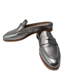 AGL Silver Penny Loafer Mule Slip On Italy 37